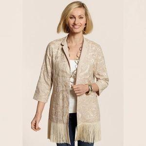 🌙 Embroidered Fringe Kimono Duster Jacket 🌙